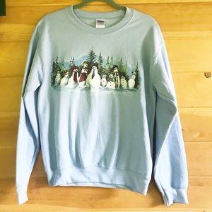 Snowman family graphic sweatshirt